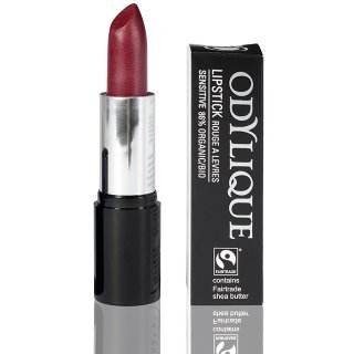 odylique natural lipstick raspberry coulis plum lipstick
