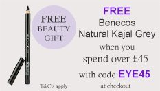 spend over £45 and get a free Benecos Eyeliner Grey with code EYE45