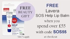 spend over £55 and get a free lavera sos lip balm with code SOS55