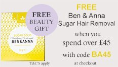 spend over £45 and get a free SUGAR WAX with code BA45