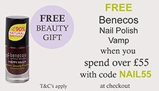 spend over £55 and get a free BENECOS VAMP NAIL POLISH with code NAIL55