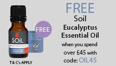 spend over £45 and get a free Soil Essential Oil