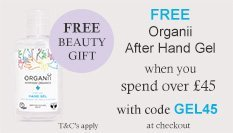 spend over £45 and get a free organii hand gel sanitiser