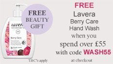 spend over £55 and get a free Lavera Berry Care Hand Wash